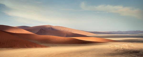 Panoramic view from Dune 45 at landscape around Sossusvlei, light and shadow, Namib Naukluft National Park, Namibia, Namib desert, Africa Wall mural