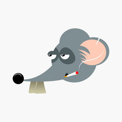 vector illustration of mouse with smoke in mouth