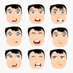 Funny boy emotions on white background