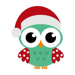 Owl in a santa's red hat