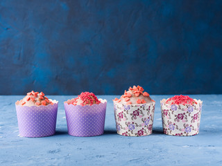 Sweet Cup cakes with pink sugar sprinkles for Valentine's mother day
