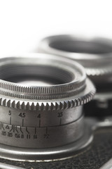 Macro photo of the lens of an antique camera. Shallow depth of field.