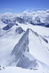Snow ridges at Grosser Moeseler, Zillertal Alps, South Tyrol, Italy