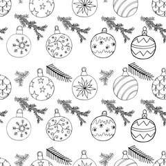 Christmas tree balls and fir branch  pattern