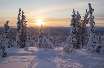 Beautiful sunset view from mountain in Finland