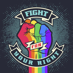 Vintage lgbt propaganda lettering quote with hand
