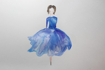 Drawing of a girl in a blue aquarcloth dress