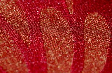 czerwona tkanina ze wzorem