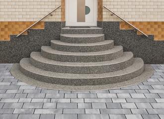 Steinteppich Treppe positive Kegeltreppe in grau mit Kieselbeschichtung - Stone carpet staircase positive conical staircase in grey with gravel coating