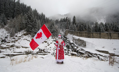 santa claus with canadian flag
