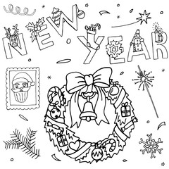 Hand drawn New Year and Christmas set.