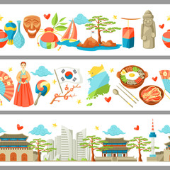 South Korea seamless borders. Korean traditional symbols and objects