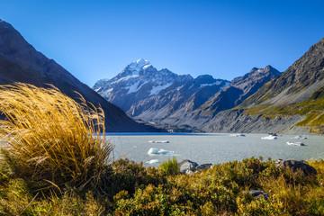 Hooker lake in Aoraki Mount Cook, New Zealand