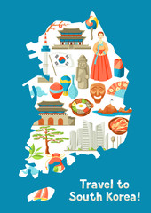 South Korea map design. Korean traditional symbols and objects