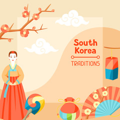 South Korea traditions. Korean banner design with traditional symbols and objects