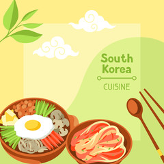 South Korea cuisine. Korean banner design with traditional symbols and objects