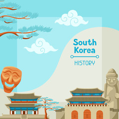 South Korea history. Korean banner design with traditional symbols and objects