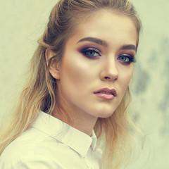Fashion portrait of beautiful girl face
