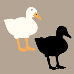 duck vector illustration profile side flat style black