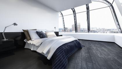 Bett in Luxus Schlafzimmer mit Holzboden