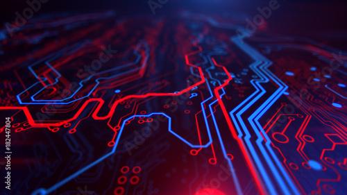 Technology Terminal Background Digital Red Blue Backdrop