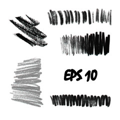 A set of pastels. Pastel strokes for creativity and design. Texture pastel black and white. Vector illustration