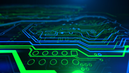 Abstract Technology background Circuit board futuristic server code processing PCB, Code, HTML Blue, green background with digital integrated network technology Printed circuit board