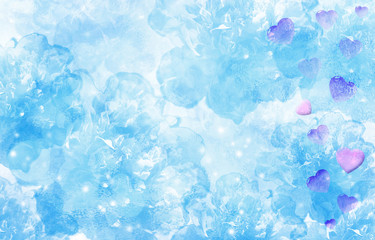 Delicate turquoise blue background with pink hearts. Valentine's Day.