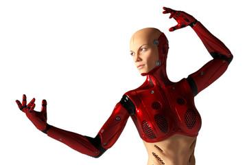 red cyborg girl