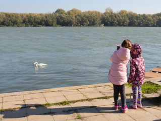 Two girls taking pictures of the swan