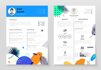Personal CV- set of modern vector template illustrations