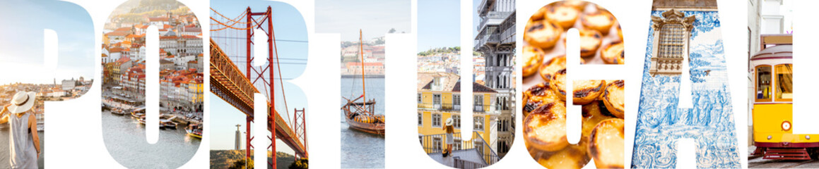 Portugal letters filled with pictures of famous places and landmarks in Portugal Fototapete