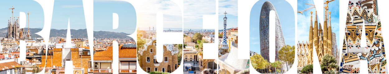 Zelfklevend Fotobehang Barcelona Barcelona letters filled with pictures of famous places and cityscapes in Barcelona city, Spain