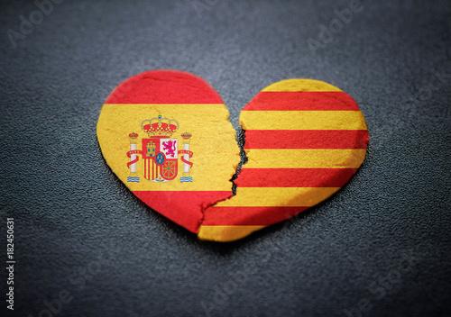 Separation Of Catalonia From Spain Symbol Of Broken Heart Stock