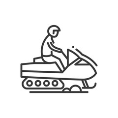 Snow racer - line design single isolated icon
