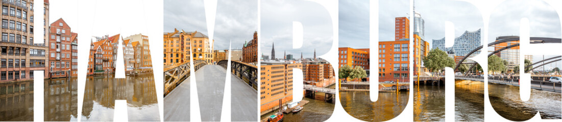 HAMBURG letters filled with pictures of famous places and cityscapes in Hamburg city, Germany