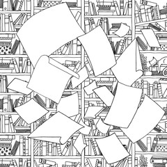 Illustration of empty papers, flying through the air in front of an office bookshelf. Black and white illustration suitable as colouring book page