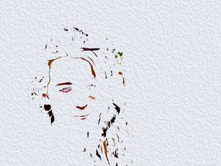 illustration, pretty face of young girl, brush strokes, oil texture.