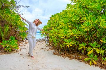 A walk on the sea in the Maldives