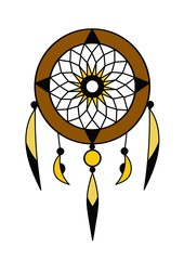 brown dream catcher with feathers vector art on a white background