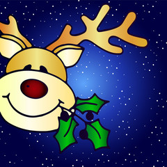 Cute deer on a beautiful blue gradient background with snow - Idea for a Christmas greeting card. Merry Christmas