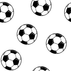 Seamless pattern with soccer balls vector.