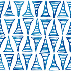 Hand painted blue ink striped triangles. Christmas tree shaped ornament. Seamless vector pattern