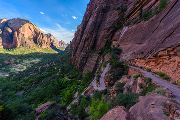 Hiking in beautiful scenery in Zion National Park along the Angel's Landing trail, View of Zion Canyon, Utah, USA