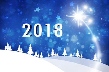 Happy New Year 2018 illustration background with fireworks, snowflakes and stars.