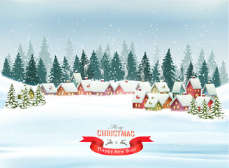 Holiday Christmas background with a village and  trees. Vector.