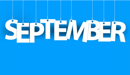 White word SEPTEMBER - word hanging on the ropes on blue background. New year illustration. 3d illustration
