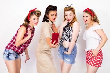 Four girlfriends make selfies