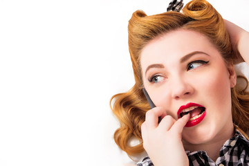 Pin-up girl and mobile phone