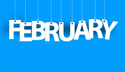 White word FEBRUARY- word hanging on the ropes on blue background. New year illustration. 3d illustration